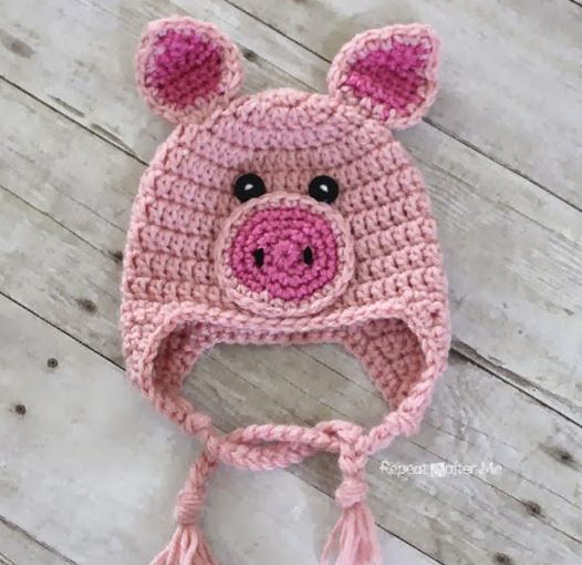 crochet pig hat free pattern-wonderfuldiy