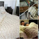 Wonderful DIY Knitted  Giant Wool Blanket  using PVC Pipe