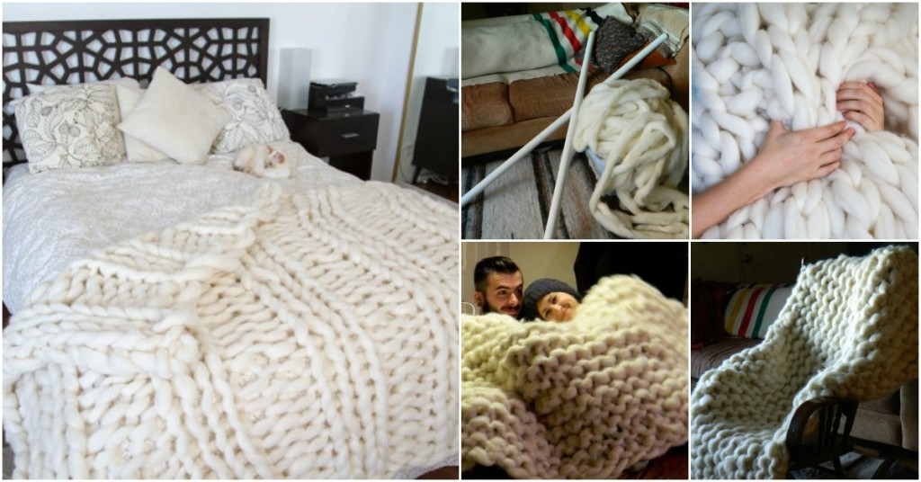 giant-wool-blanket using PVC pipe -wonderfuldiy