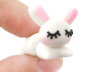 handmade sleepy bunny rabbit animal fake gauge polymer clay stud earring grande 200x150 Wonderful DIY Super Cute Polymer Clay Animal