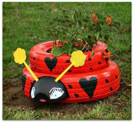 lady-bug- tyre planter4
