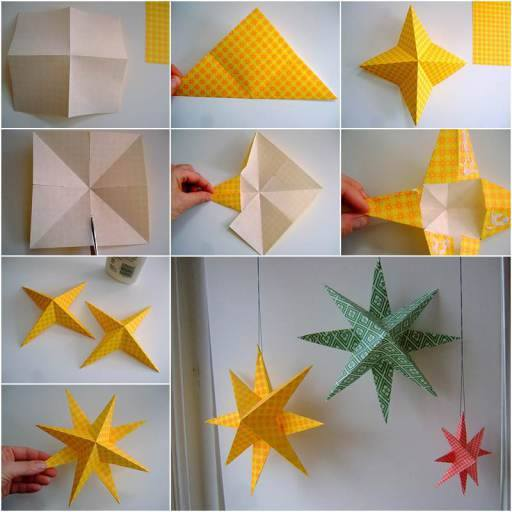 wonderful diy easy 3d paper star decoration