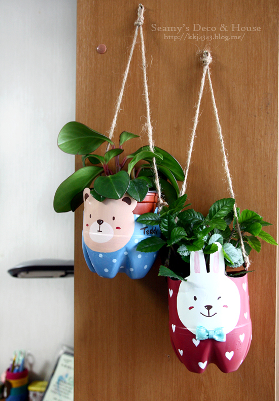 plastic bottle bunny bear planter-wonderfuldiy2