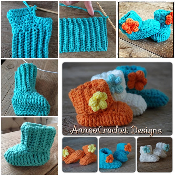 spring flower baby booties free crochet pattern wonderfuldiy Wonderful DIY Crochet Spring Flower Baby Booties with Free Pattern