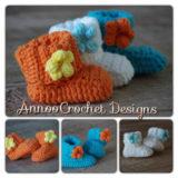 Wonderful DIY Crochet Spring Flower Baby Booties with Free Pattern