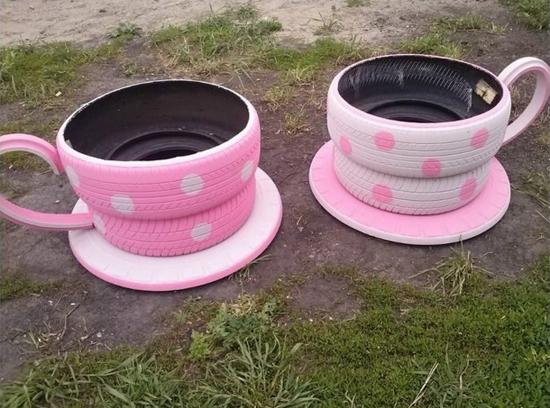 tea-cup- tyre planter6