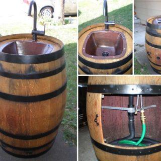Wonderful DIY Outdoor Sink from Wine Barrel