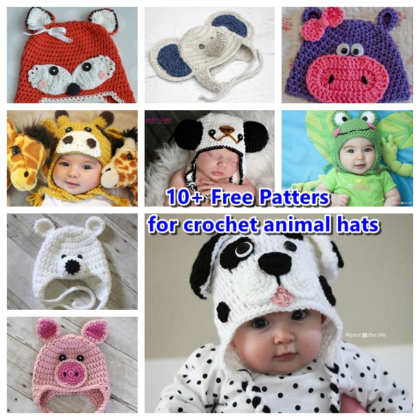 10+ free patterns for animal hats-wonderfuldiy