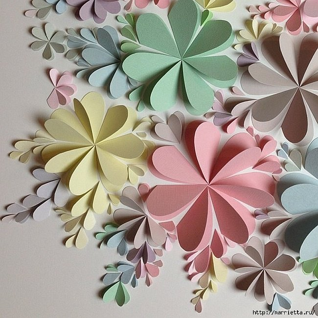 Delightful diy paper flower wall art free guide and templates view in gallery 3d flower wall art mightylinksfo