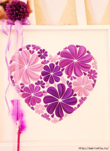 Delightful diy paper flower wall art free guide and templates view in gallery 3d paper flower heart wonderfuldiy4 solutioingenieria Images