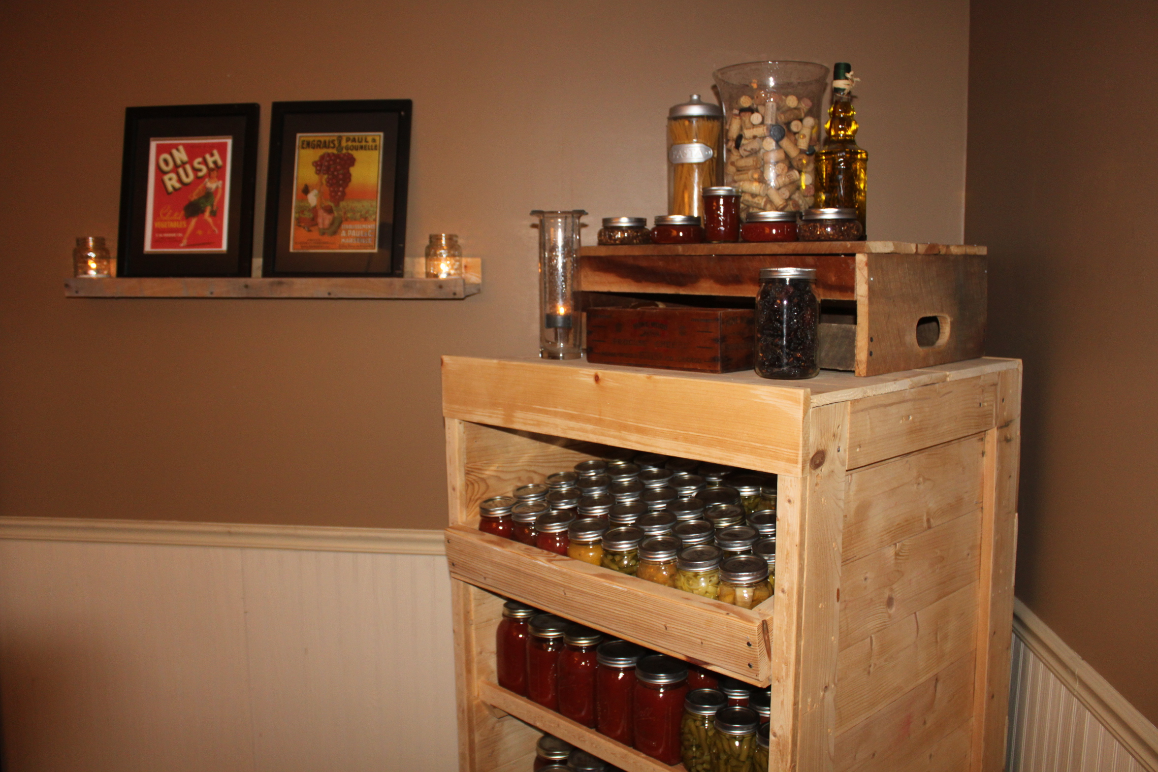 old pallet furniture. VIEW IN GALLERY Canning Pantry Cupboard Built From Pallets Old Pallet Furniture