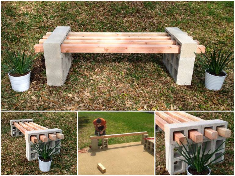 Cinder Block Bench Tutorial wonderfuldiy2 Wonderful DIY Cinder Block Bench