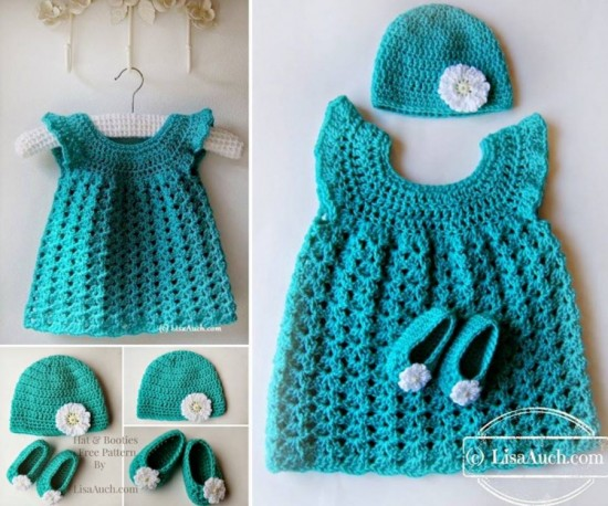 16 patterns for cute crochet girls dresses view in gallery crochet dress hat and slippers free pattern wonderfuldiy ccuart Images