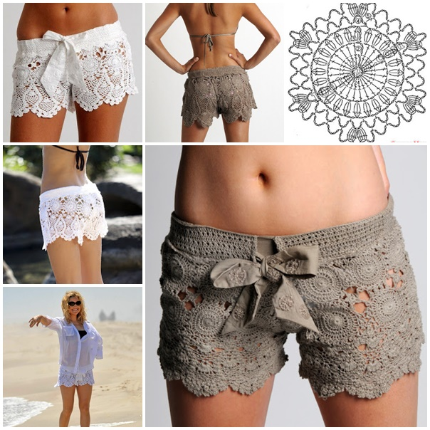 Crochet lace shorts Pattern wonderfuldiy Crochet Lace Beach Shorts   Free Pattern and Guide