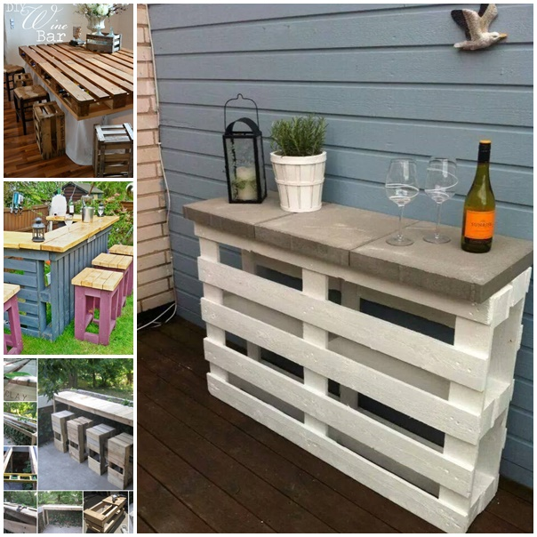 View In Gallery Diy Pallet Bar Table And Stools2