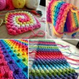 Crochet Bobble Stitch Rainbow Blanket – Free Pattern