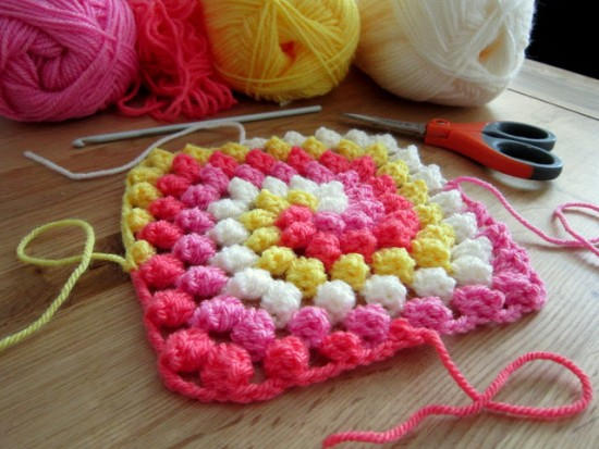 Crochet Bobble Stitch Rainbow Blanket - Free Pattern