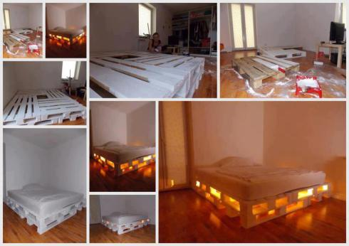 Glowing Bed from Wooden Pallets