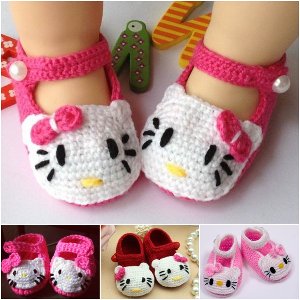 Hello Kitty Baby Shoes Crochet free Pattern wonderfuldiy Homemade Hello Kitty Crochet Slippers
