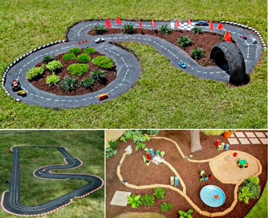 VIEW IN GALLERY Kids Back Yard Race Car Track Wonderfuldiy