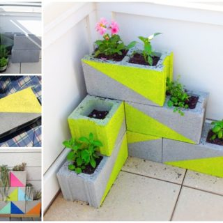 Wonderful DIY Modern, Neon Concrete Block Planter