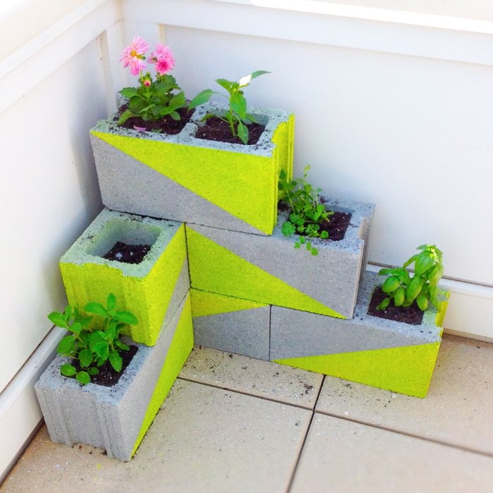 Modern Neon Concrete Block Planter wonderfuldiy1 Wonderful DIY Modern, Neon Concrete Block Planter
