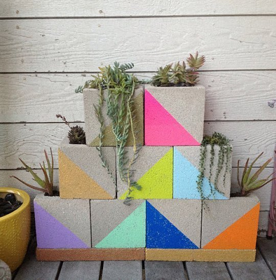 Modern, Neon Concrete Block Planter- wonderfuldiy2
