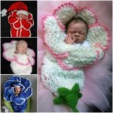 Wonderful DIY Knitted Bell Flower Baby Cocoons
