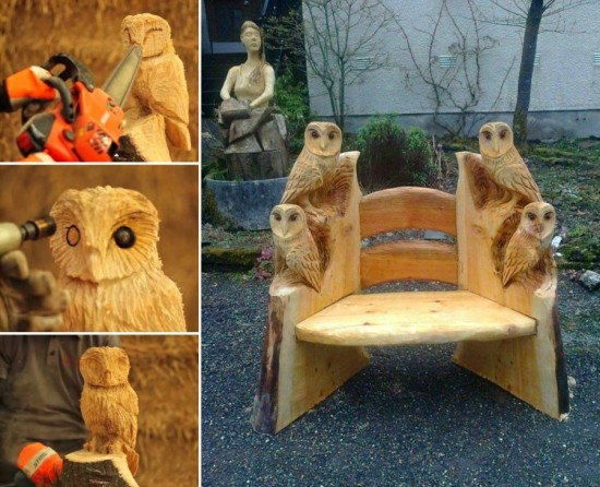 Owl Chair Woodworking wonderfuldiy Wonderful DIY  Wood Carving Owl
