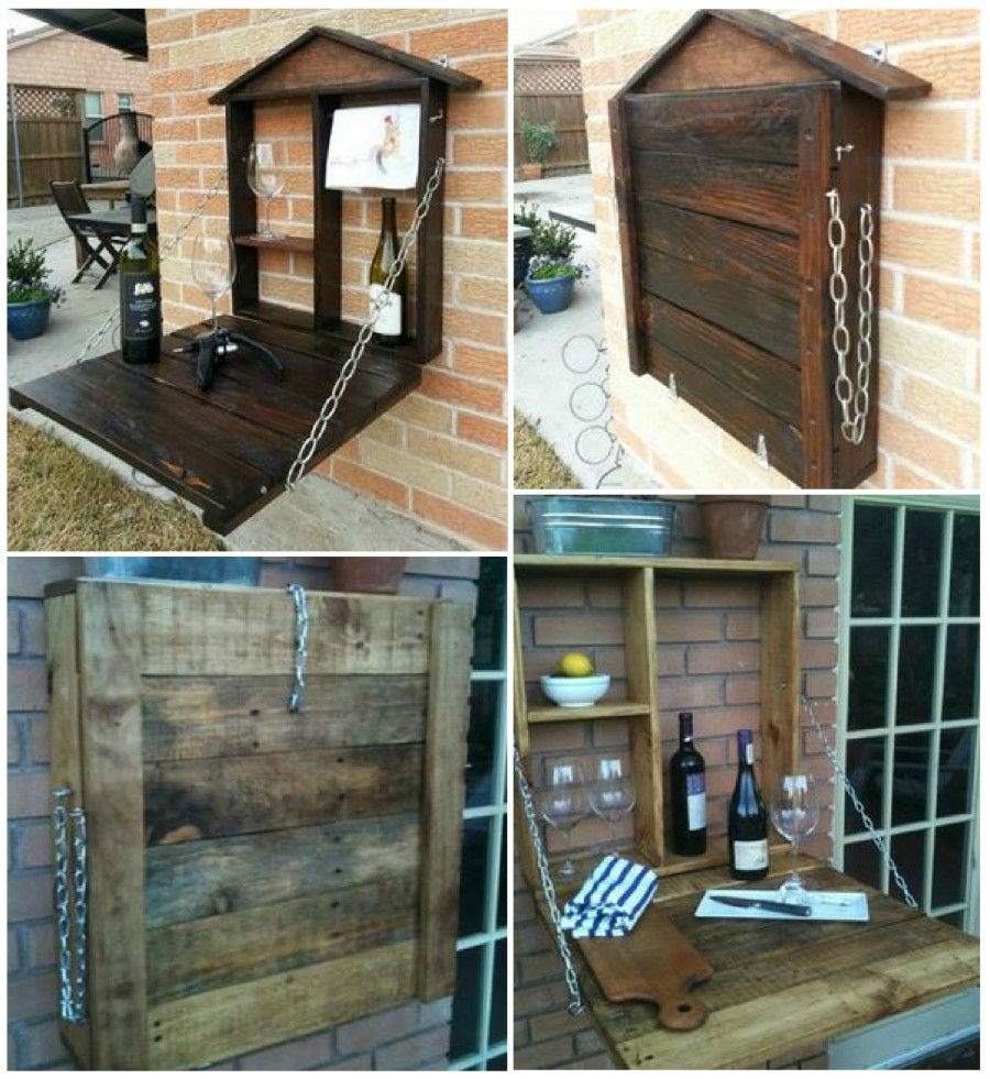 VIEW IN GALLERY Pallet-Fold-Down-Wine-bar-wonderfuldiy & 50 Wonderful Pallet Furniture Ideas and Tutorials