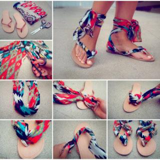 02598a3f22537 DIY   Crafts · Wonderful DIY Stylish Scarf Ankle Wrap Sandals