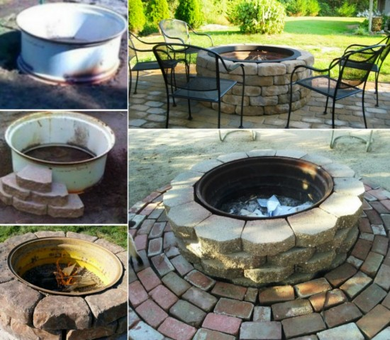 Tractor Rim Firepit 550x480 Wonderful DIY Tractor Wheel Fire Pit
