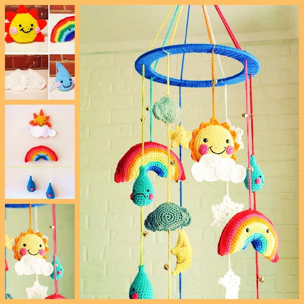 crochet baby mobile free pattern WONDERFUL DIY f Wonderful DIY Crochet Baby Rainy day Mobile