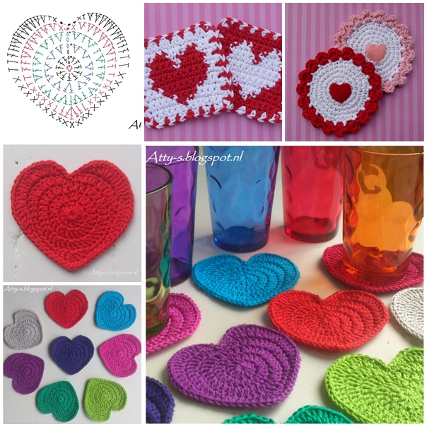 crochet heart coasters wonderfuldiy Wonderful DIY Crochet Love Heart Coaster