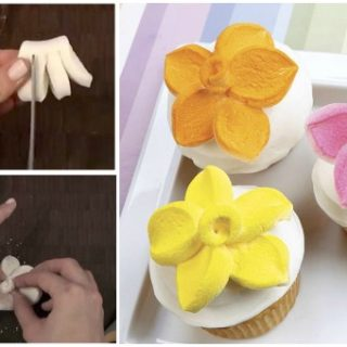 Wonderful DIY Marshmallow Flower Shaped Cupcake Topper (Video)