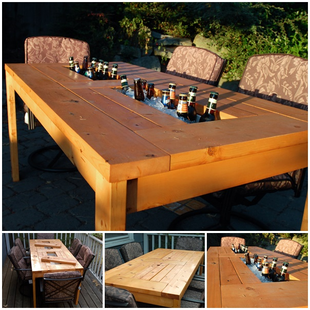 patio table with wine cooler wonderfuldiy Wonderful DIY Patio Table with Built in  Wine Cooler