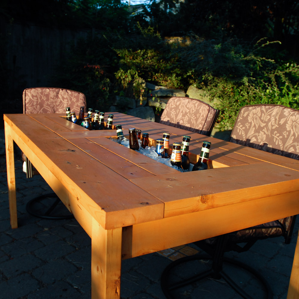 Wonderful DIY Patio Table With Builtin Wine Cooler - Picnic table with grill built in