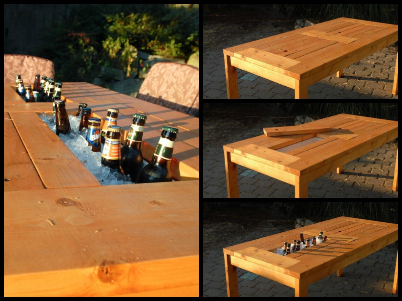 patio table with wine cooler wonderfuldiy2 Wonderful DIY Patio Table with Built in  Wine Cooler