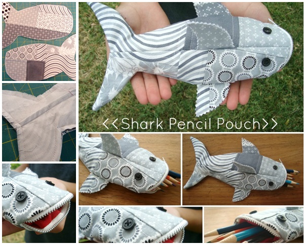 sharkpencilpouch wonderfuldiy Wonderful DIY Shark Pencil  Pouch with Template