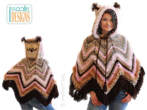 Crochet Acorn Owl Poncho - adults