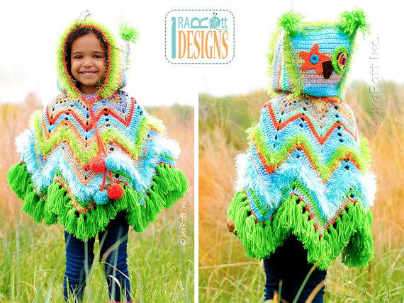 Crochet Acorn Owl Poncho