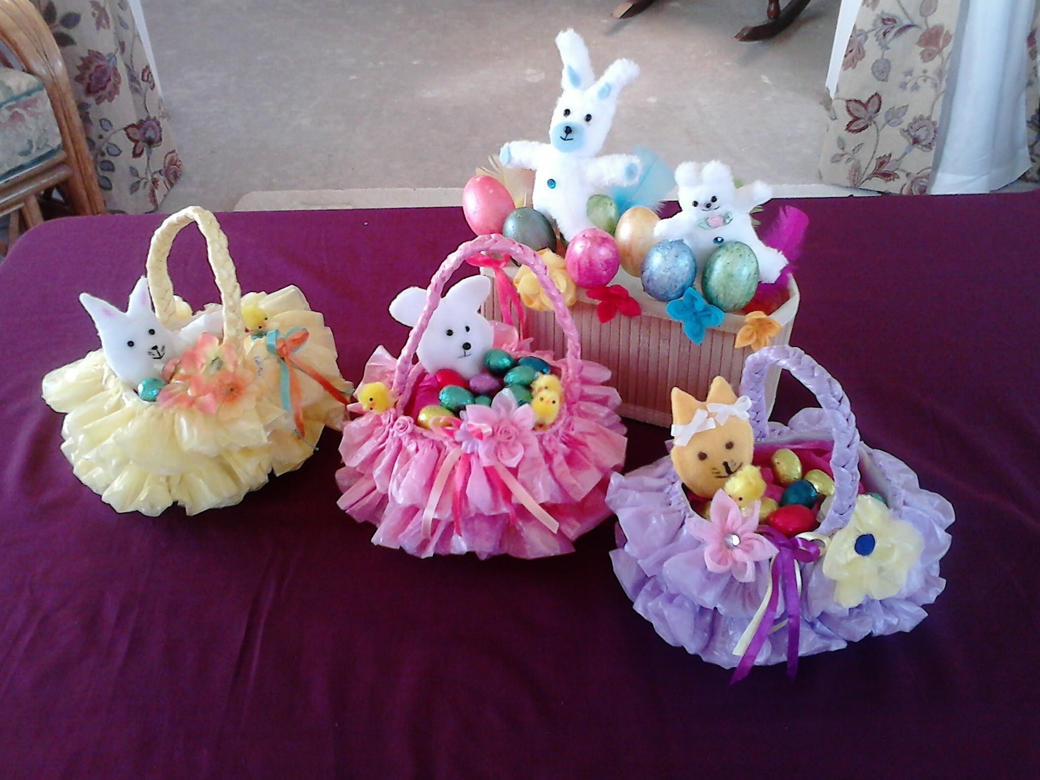 Easter Basket - crafted from recycled plastic bag and bottle-wonderfuldiy1