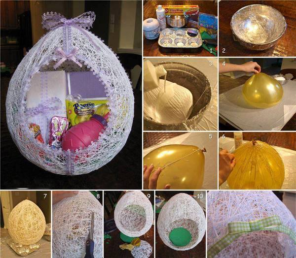 Easter String Egg wonderfuldiy Wonderful DIY Easter String Egg / Basket