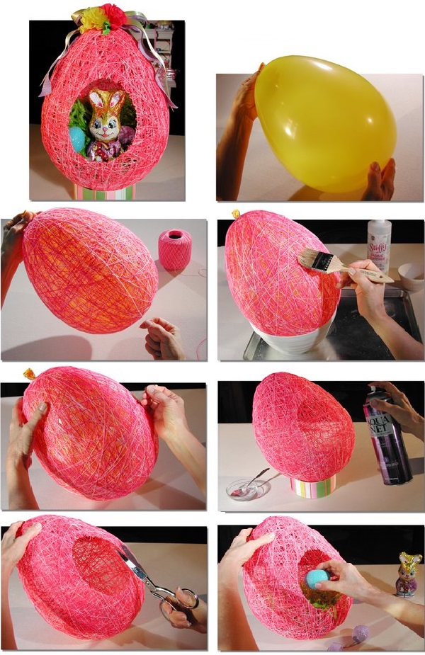 Easter String Egg wonderfuldiy1 Wonderful DIY Easter String Egg / Basket