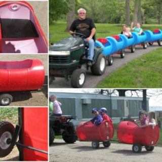 Wonderful DIY Choo Choo Train from Plastic Barrel