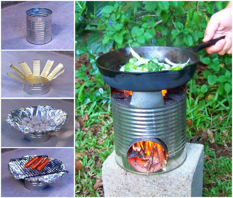 Tin Can Rocket Stove 3 Wonderful DIY Glowing in the Dark Log Campfire Stools