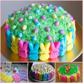 Easter Peep Cake Recipe with Colorful Bunnies
