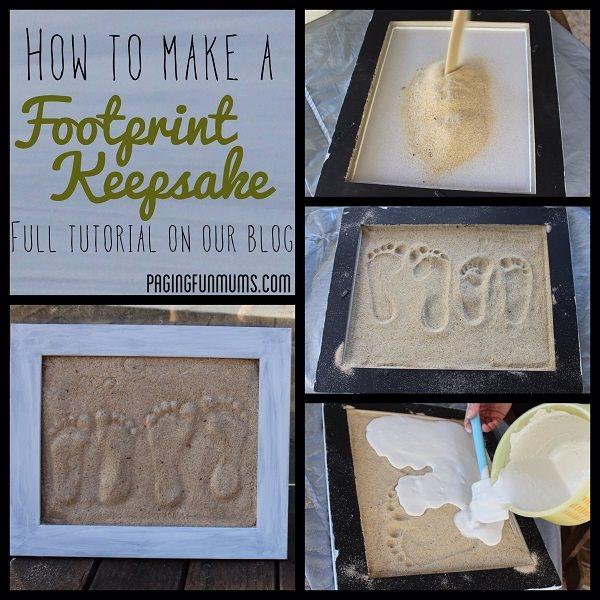 footprint keepsakes wonderfuldiy Wonderful DIY  Sand Footprint Keepsake