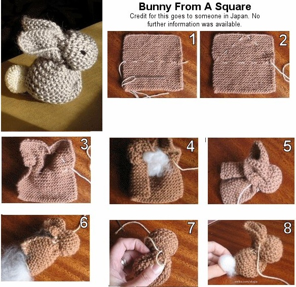 knitted Bunny from square-wonderfuldiy f