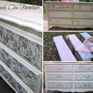 Wonderful DIY Lace Painted Furniture